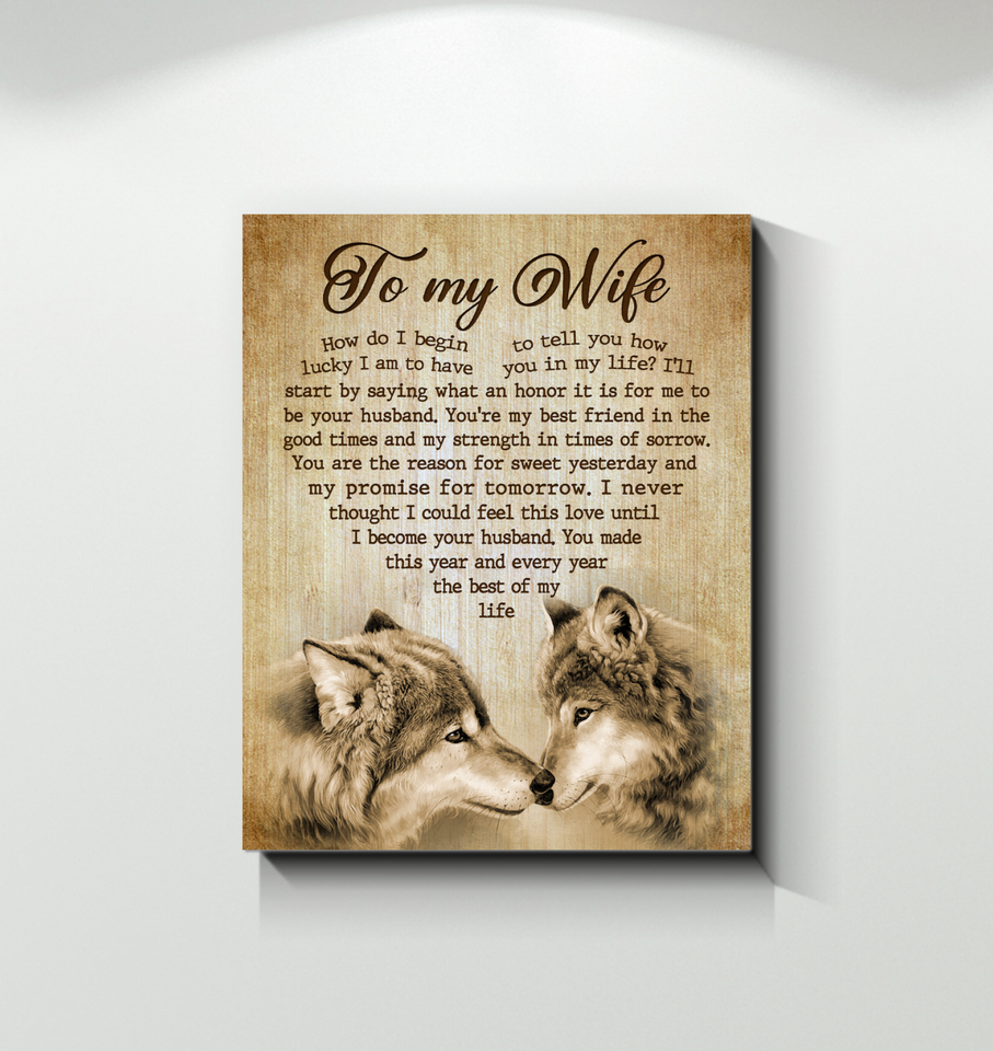 Canvas Wolf To My Wife How Do I - Hayooo Shop