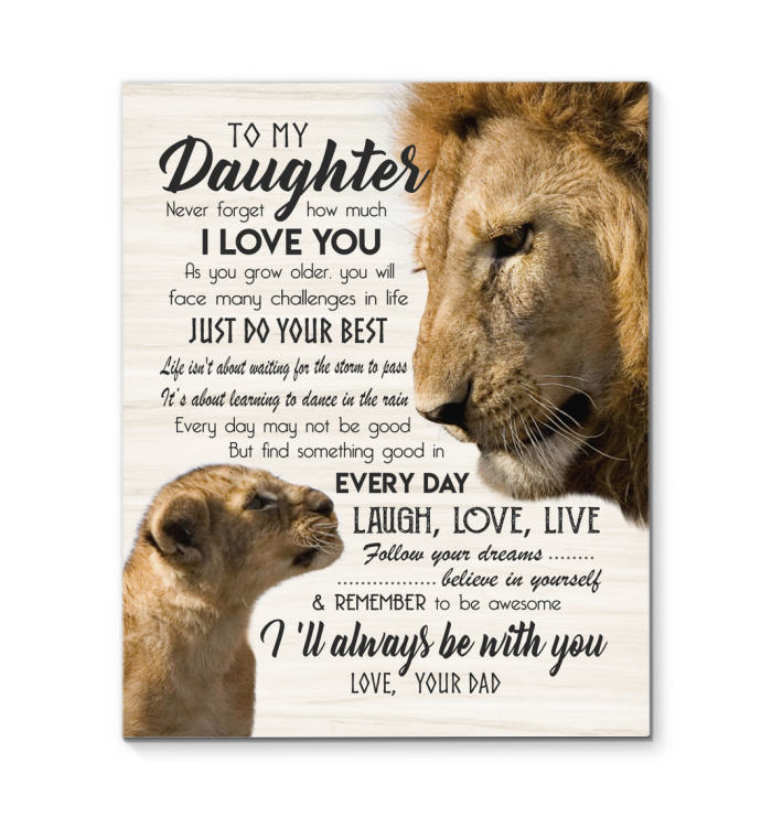 Lion Canvas To My Daughter (Dad) Always Be With You