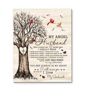 Canvas - Cardinal - My angel husband - Love tree