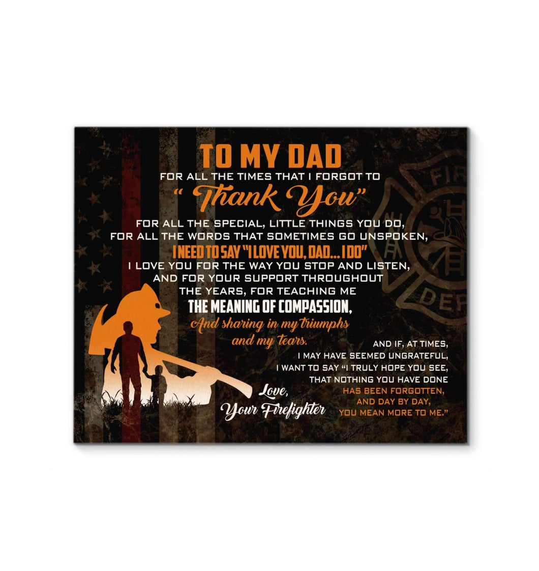 CANVAS - Firefighter - Dad - Thank You - yenyenstore