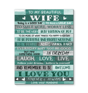 CANVAS - To my Wife - Today is a good day - yenyenstore