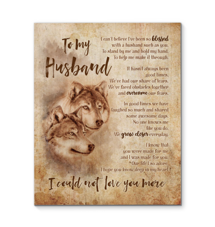 Gl Wolf Canvas To My Husband Could Not Love You More - Hayooo Shop