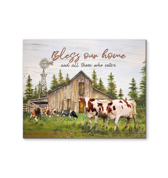 Cow Canvas Bless Our Home