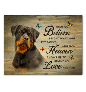 Canvas Rottweiler When You Believe