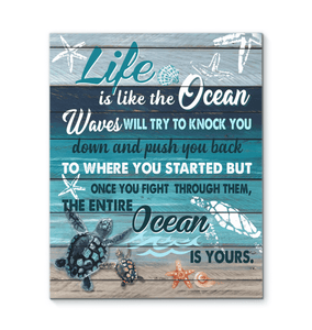 CANVAS - Turtle - Life Is The Ocean... - yenyenstore