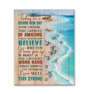 Canvas Turtle Today Is A Brand New Day - Hayooo Shop