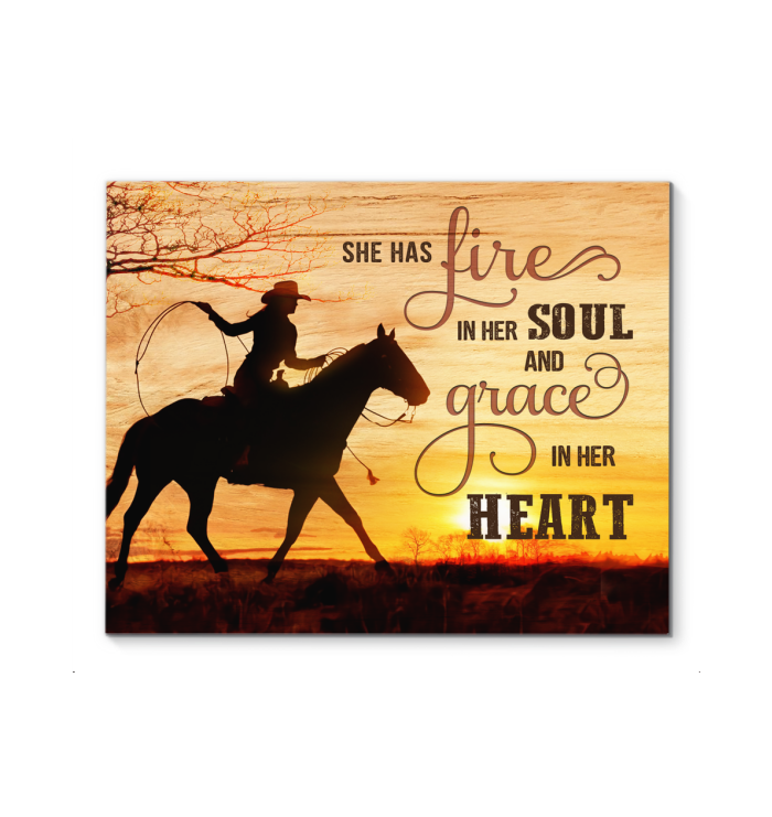 Country Girl Canvas She Has Fire In Her Soul - Hayooo Shop