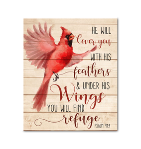 Canvas Cardinal He Will Cover You