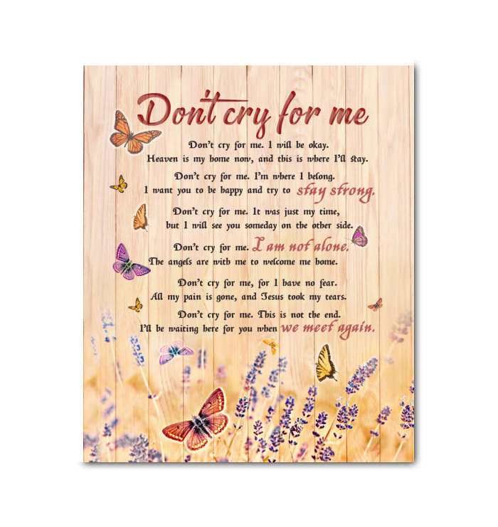 Butterfly Canvas Don'T Cry For Me - Hayooo Shop