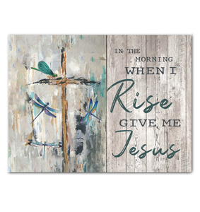 Hayooo Give Me Jesus Dragonfly & Cross Canvas Wall Art Decor
