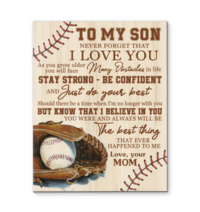 Canvas Baseball To My Son The Best Thing