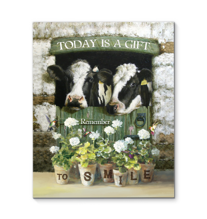 Cow - Canvas - Today is a gift, remember to smile
