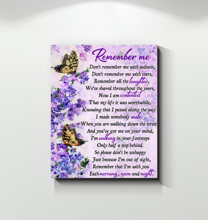 Canvas Butterfly Remember Me