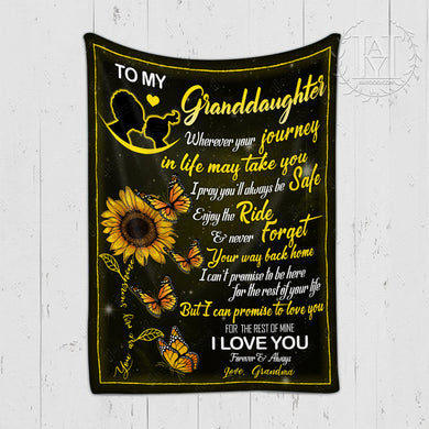 HAYOOO Blanket To my granddaughter Butterfly (Grandma)