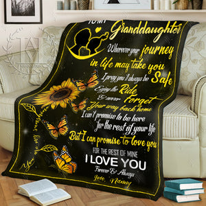 HAYOOO Blanket To my granddaughter Butterfly (Nanny)
