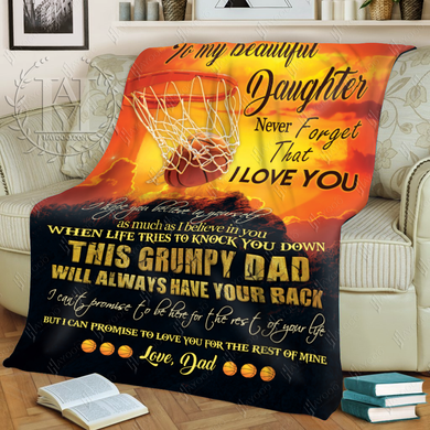 Hayooo Blanket Basketball To my beautiful daughter This grumpy dad