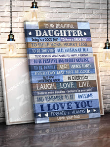 CANVAS - To my Daughter (Dad) - Today is a good day - yenyenstore