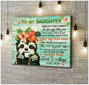 CANVAS - SLOTH - Daughter - Wherever your journey in life may take you - yenyenstore