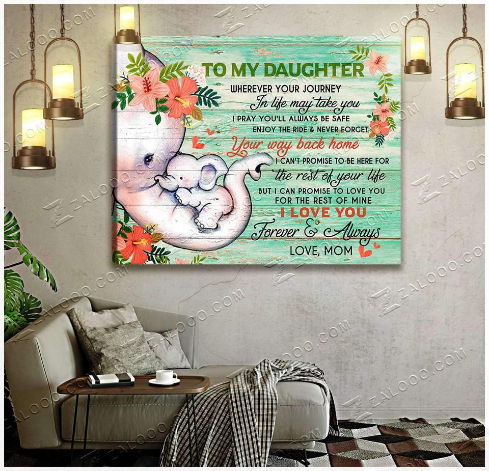 CANVAS - ELEPHANT - Daughter - Wherever your journey in life may take you - yenyenstore