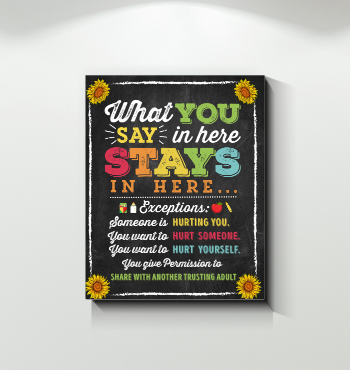 TEACHER CANVAS - What you say in here Stays in here - ver 3 (Black)