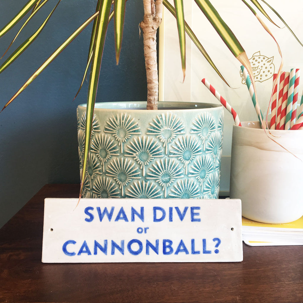Ceramic Sign: Swan Dive or Cannonball?