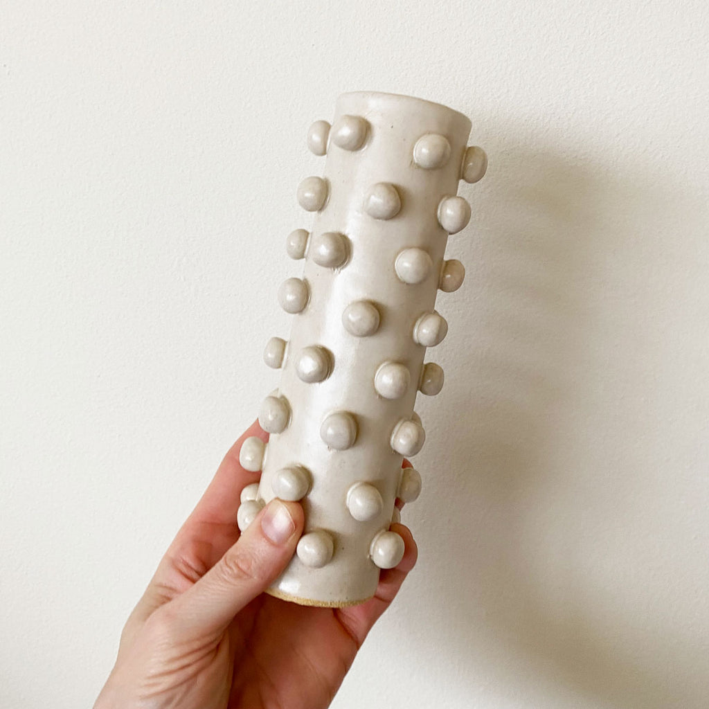 Skinny Bobble Vase - White
