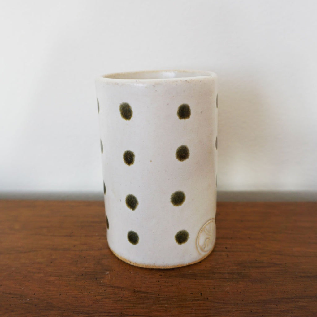 handmade ceramic polka dot bud vase by Salto Workshop