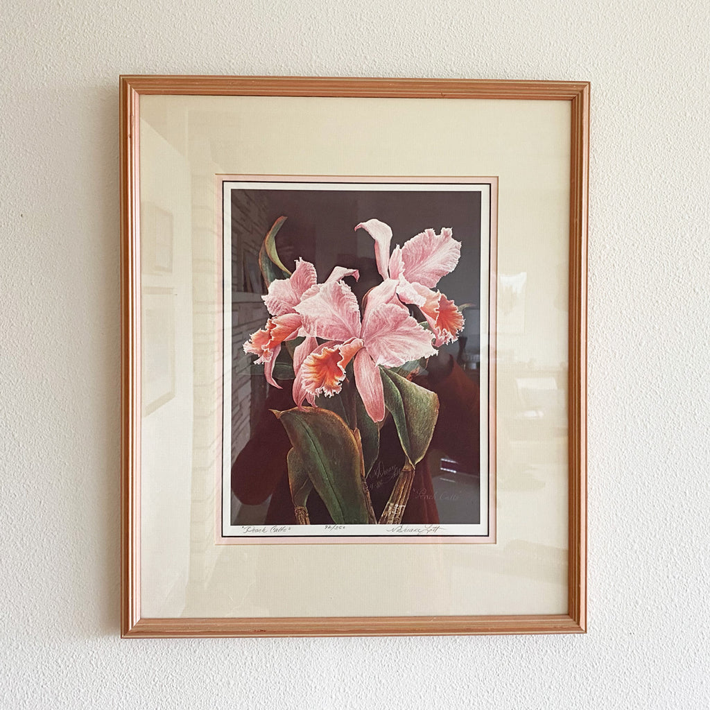 "Vintage Framed & Matted Flower ""Peach Catts"" Original Print"