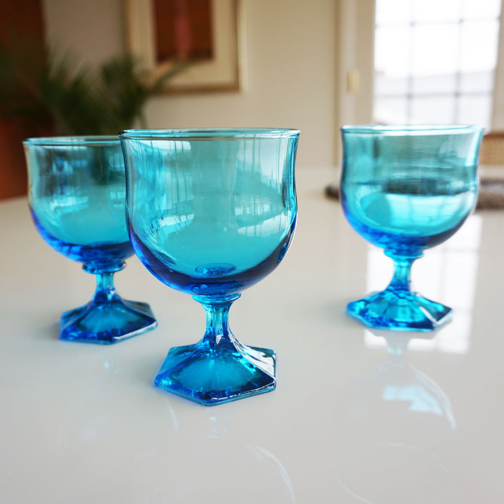 Set of 5 Turquoise Glass Goblets
