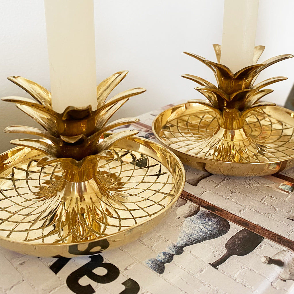 Vintage Brass Pineapple Candlestick Holders