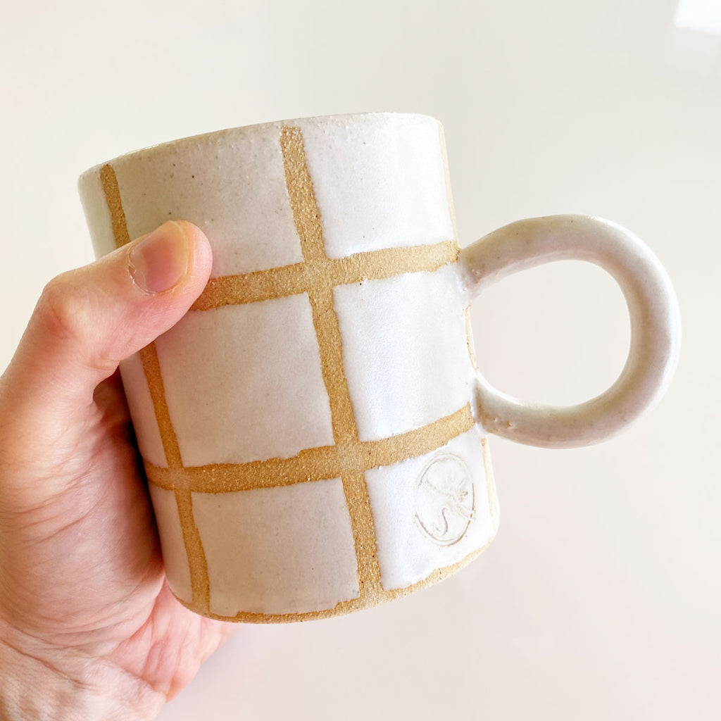 handmade windowpane mug