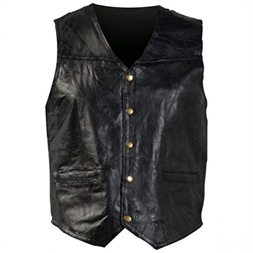 Giovanni Navarre Italian Stone Design Genuine Leather Vest (6XL)