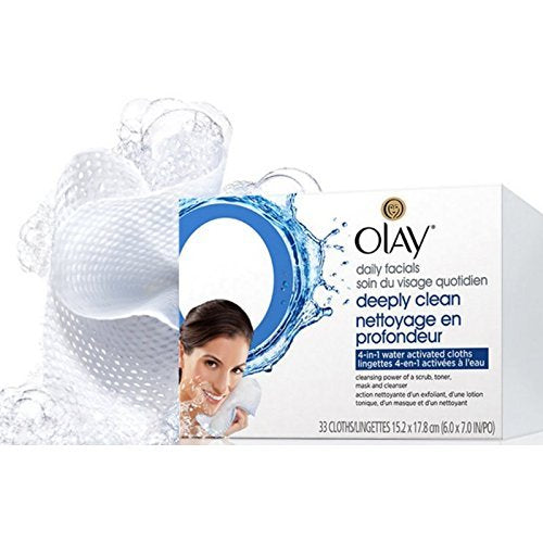 Olay Daily Deeply Clean 4-in-1 Water Activated Cleansing Face Cloths 33ct (Pack of 4)