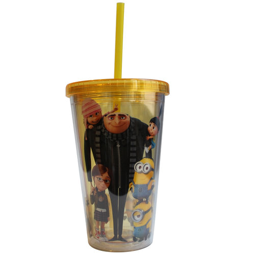 Universal DM35087 Despicable Me Cast Plastic Cold Cup with Lid and Straw, 16-ounces, Yellow