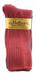 Maggie's Organic Cotton Crew Sock Tri-pack (10-13, Raspberry/Navy/Forest)