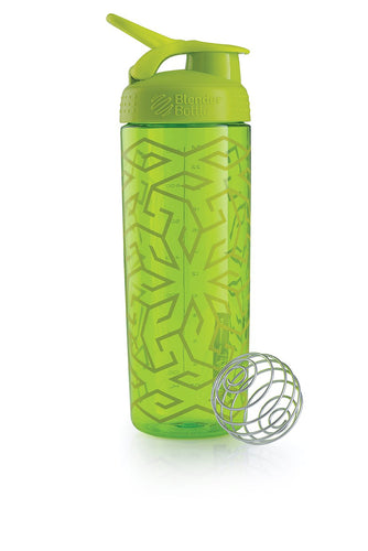BlenderBottle SportMixer Signature Sleek Shaker Bottle, Zen Gala Green, 28-Ounce