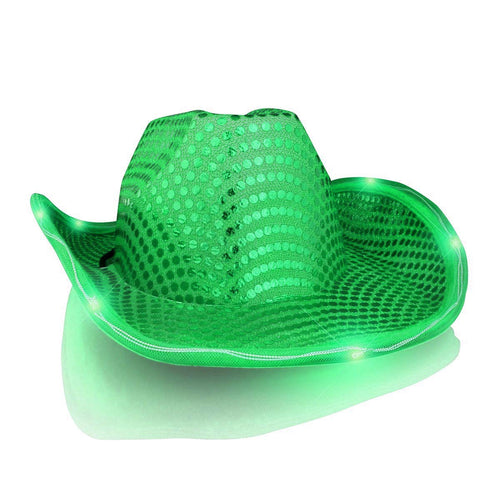 blinkee LED Flashing Cowboy Hat with Green Sequins by