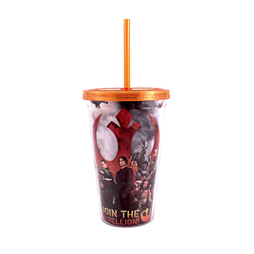 Star Wars Plastic Silver Buffalo SY06087 Rogue One Join Cold Cup with Lid and Straw, 16-Ounce, Multicolor
