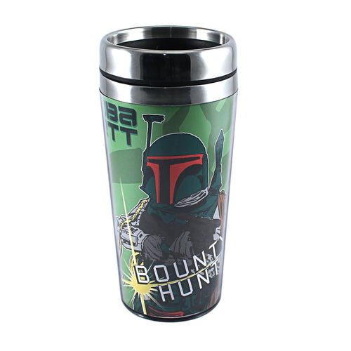 Silver Buffalo SW6687ST Star Wars Episode 4 Boba Fett Stainless Steel Travel Mug, 16-Ounces