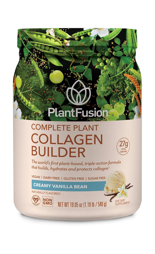 PlantFusion Collagen Builder | Complete Plant Based Peptides Protein Powder | Vegan Collagen Supplement for Collagen Building, Skin Hydration, Joint Support & Healthy Hair, Gluten-Free, Non-GMO