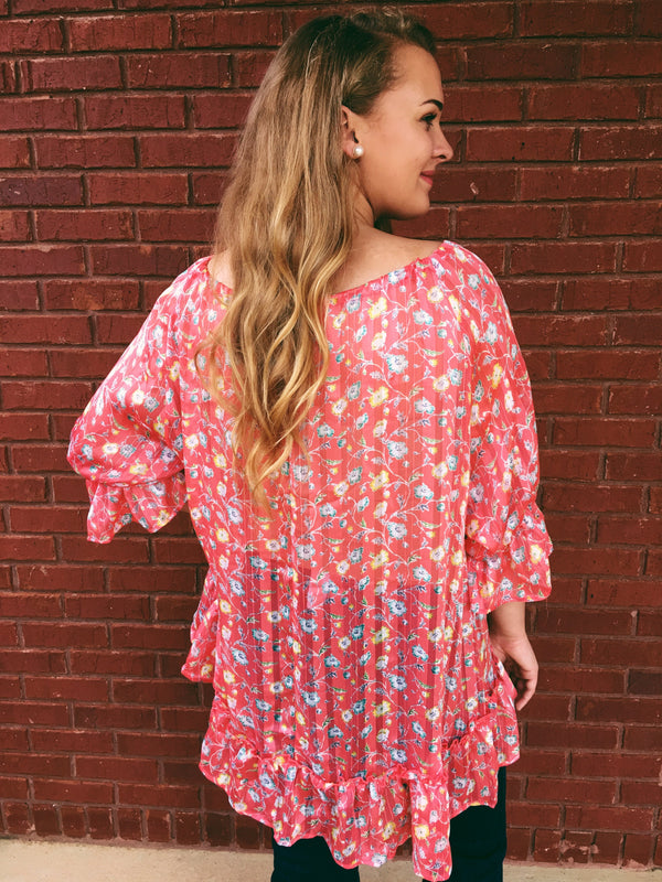 Like Candy Sheer Floral Tunic - Coral