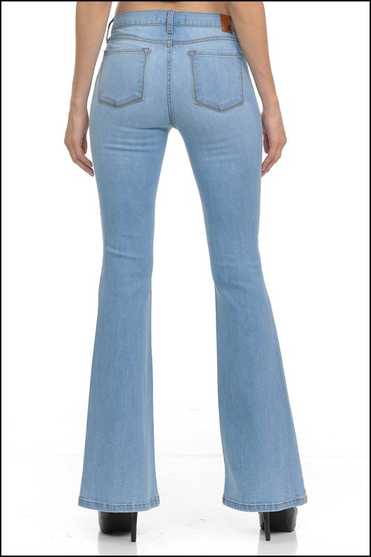 So Sweet Basic Flare Jeans - Light Denim