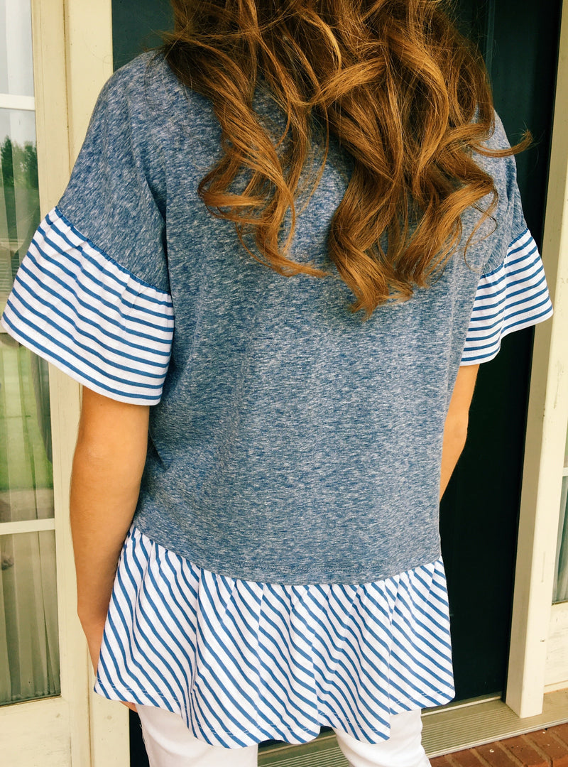 Nothing Classier Stripe Top - Washed Blue