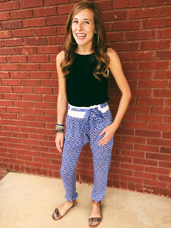All Over Print Pants - Blue