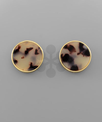 Acrylic Disc Earrings - Beige
