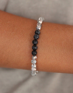 Balsam Crystal Bead Stretch Bracelet - Gray