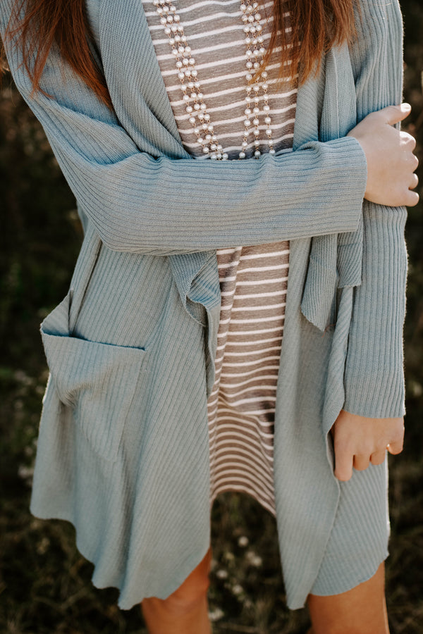 Waterfall Knit Cardigan - Sage