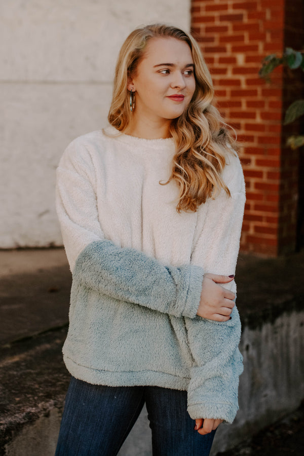 Color Blocked Faux Fur Pullover - Faded Blue