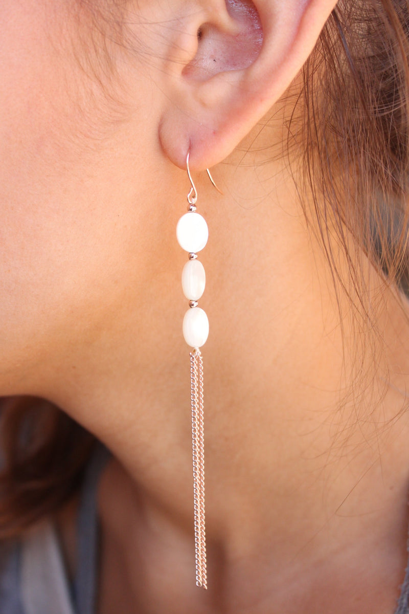 Marty Triple Mother Of Pearl And Chain Drop Earrings - Rose Gold