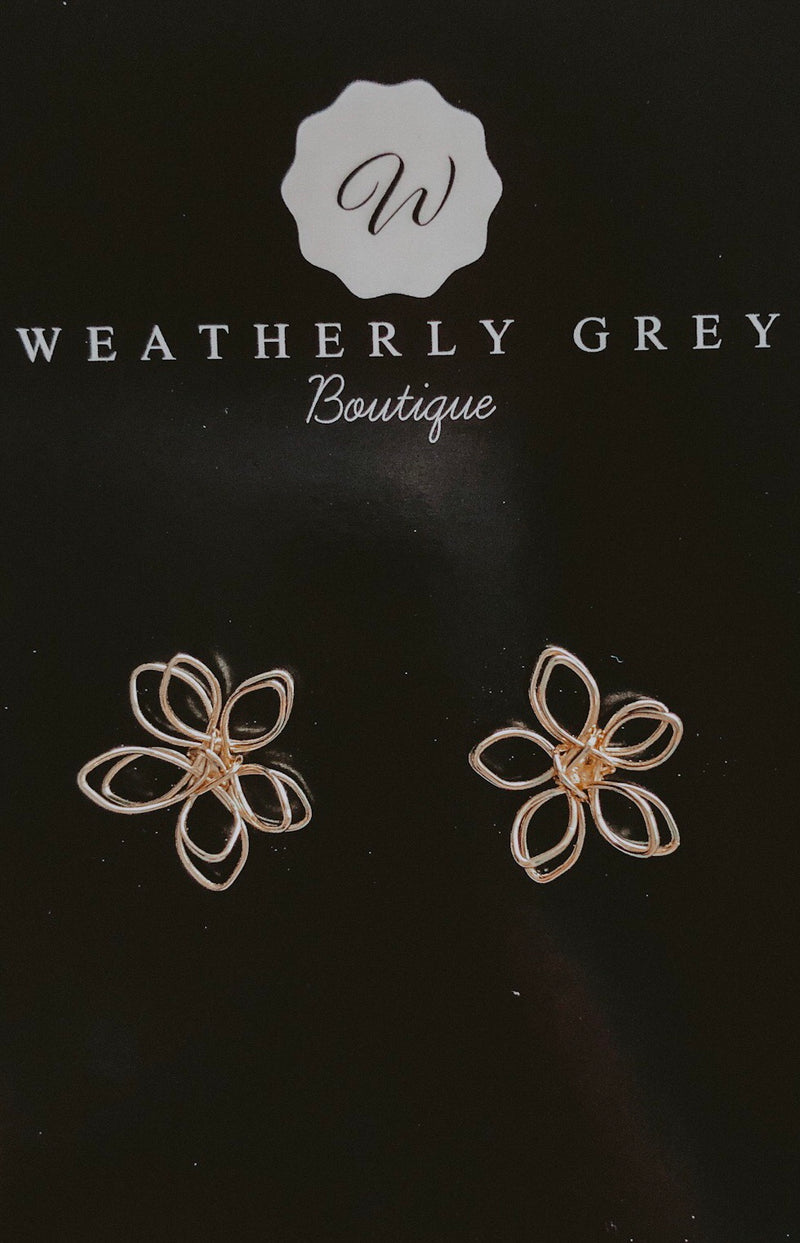 Flower Girl Studs - Gold